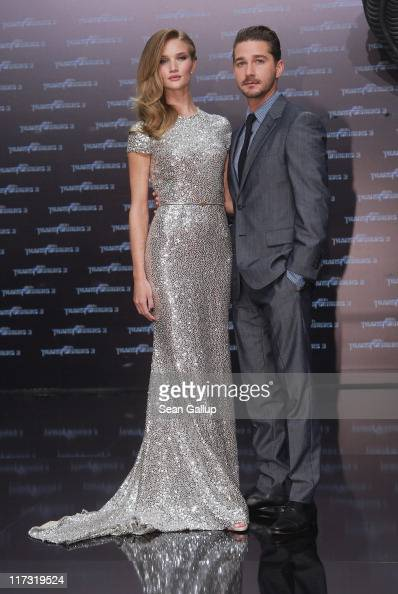 Actress Rosie HuntingtonWhiteley and actor Shia LaBeouf attend the 'Transformers 3' European premiere on June 25 2011 in Berlin Germany