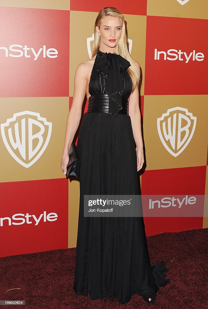 Actress Rosie Huntington-Whiteley arrives at the InStyle And Warner Bros. Golden Globe Party at The Beverly Hilton Hotel on January 13, 2013 in Beverly Hills, California.