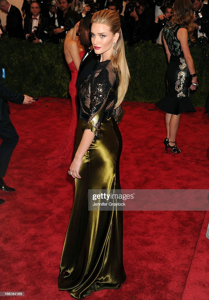 Actress Rosie Huntington-Whiteley attends the Costume Institute Gala for the 'PUNK: Chaos to Couture' exhibition at the Metropolitan Museum of Art on May 6, 2013 in New York City.