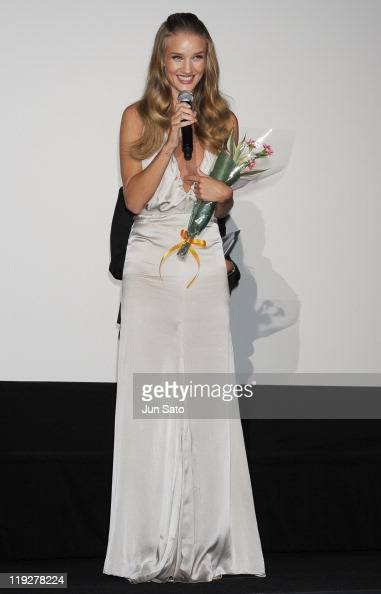 Actress Rosie HuntingtonWhiteley attends the 'Transformers Dark of the Moon' stage greeting at Osaka Station City Cinema on July 16 2011 in Osaka...