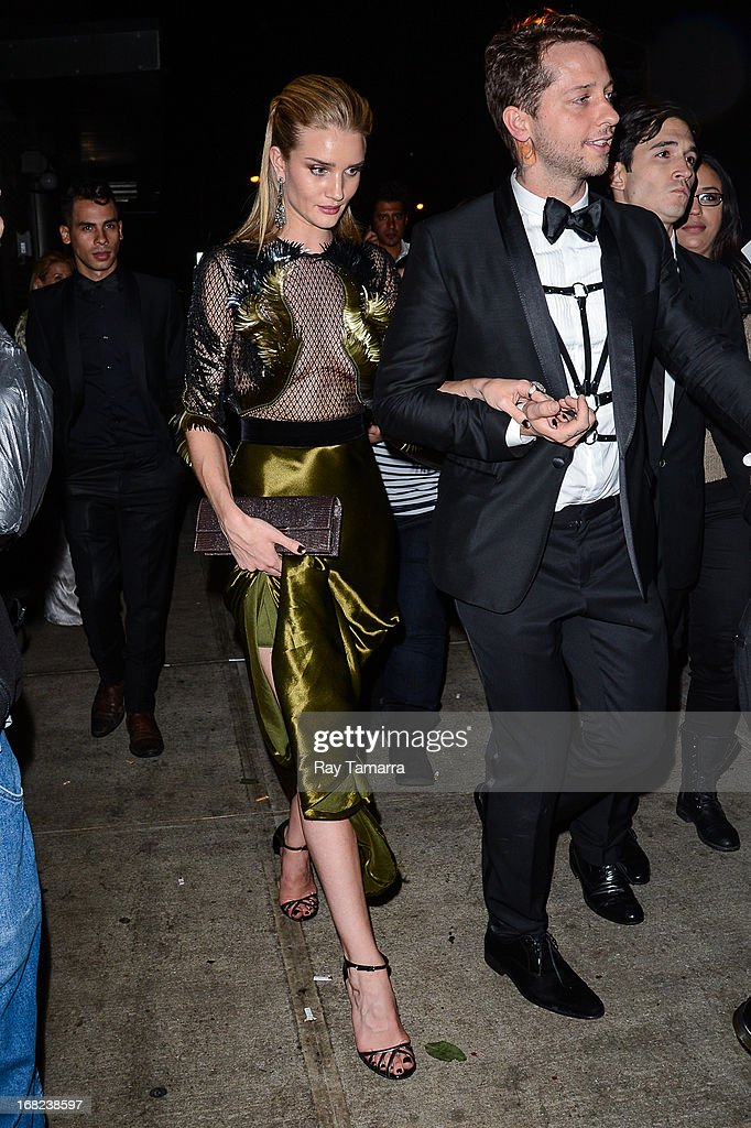 Actress Rosie Huntington-Whiteley leaves the 'PUNK: Chaos To Couture' Costume Institute Gala after party at the Standard Hotel on May 6, 2013 in New York City.