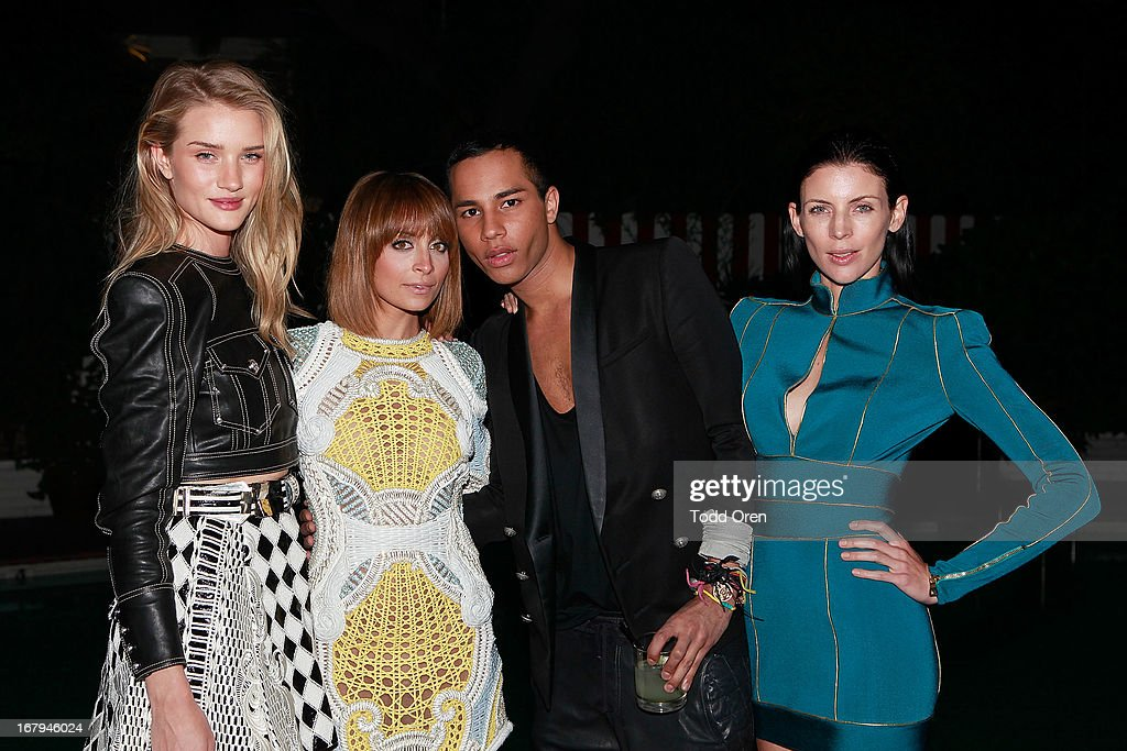 Actress Rosie Huntington-Whiteley, Nicole Richie, Designer Olivier Rousteing, Actress Liberty Ross attend the Balmain LA Dinner at Chateau Marmont on May 2, 2013 in Los Angeles, California.