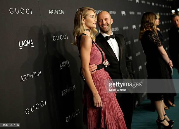 Actress Rosie HuntingtonWhiteley wearing Gucci and actor Jason Statham attend LACMA 2015 ArtFilm Gala Honoring James Turrell and Alejandro G Iñárritu...