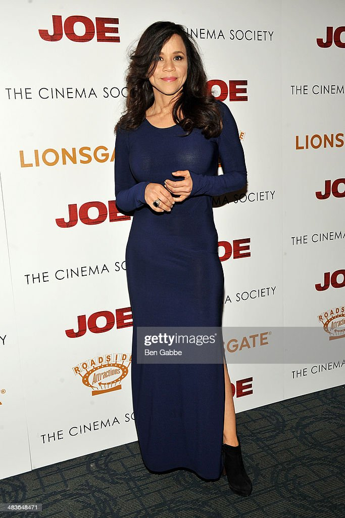 Actress Rosie Perez attends the 'Joe' screening hosted by Lionsgate And Roadside Attractions With The Cinema Society at Sunshine Landmark on April 9...