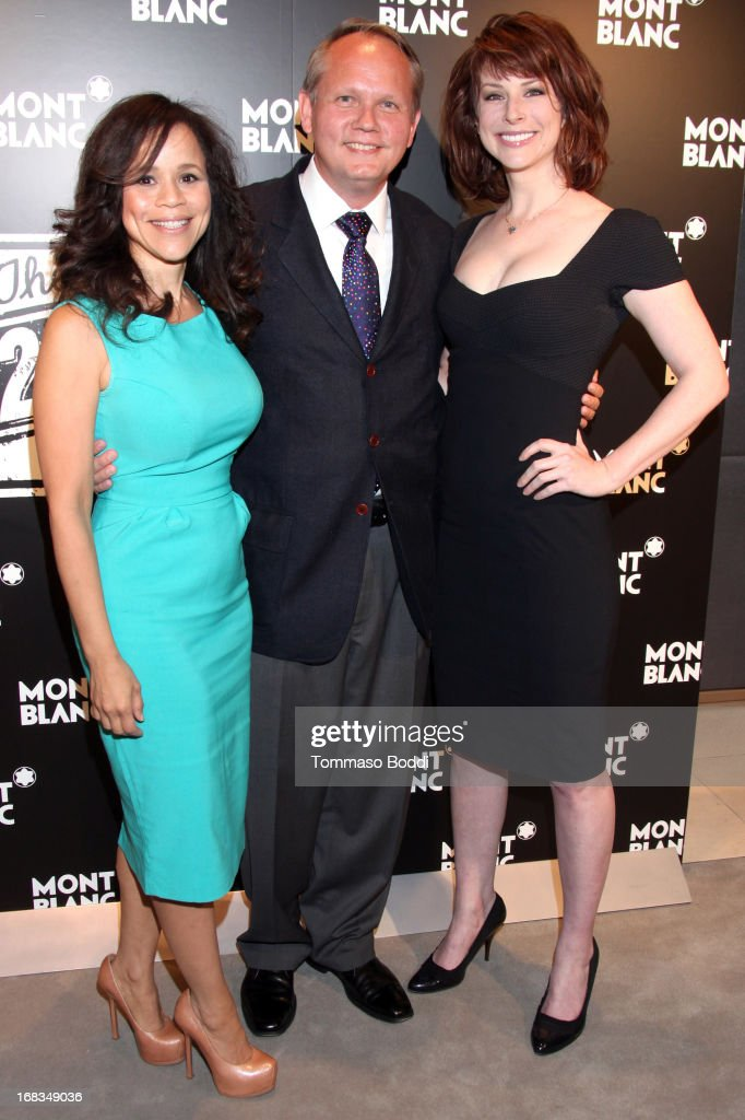 Actress <a gi-track='captionPersonalityLinkClicked' href=/galleries/search?phrase=Rosie+Perez&family=editorial&specificpeople=171833 ng-click='$event.stopPropagation()'>Rosie Perez</a>, Montblanc North America CEO Jan Patrick Schmitz and actress <a gi-track='captionPersonalityLinkClicked' href=/galleries/search?phrase=Diane+Neal&family=editorial&specificpeople=208857 ng-click='$event.stopPropagation()'>Diane Neal</a> attend the Montblanc Presents: The 24 Hour Plays 2013 LA cast announcement and kick-off party held at Montblanc Rodeo Drive Boutique on May 8, 2013 in Beverly Hills, California.