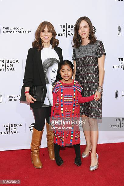 Actress Rosie Perez Sophie Cruz and director Paola Mendoza attends 'Free Like The Birds' screening and immigration panel during 2016 Tribeca Film...