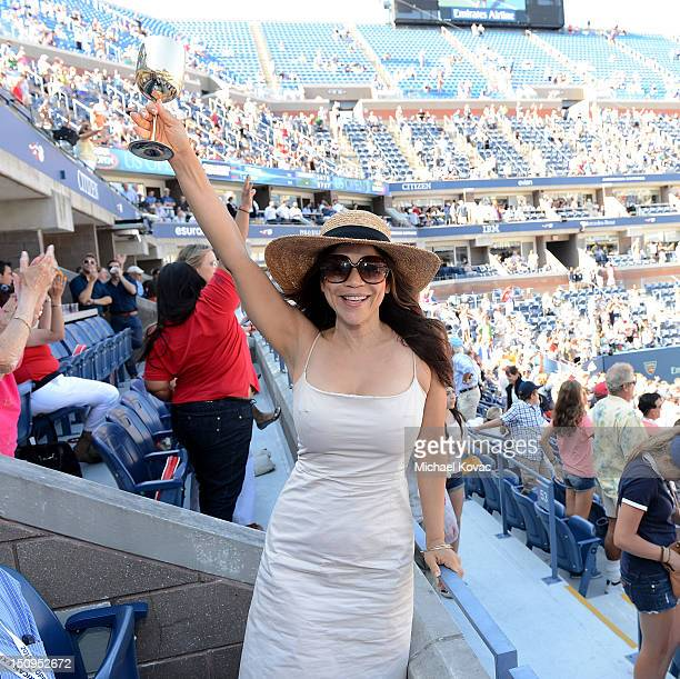 Actress Rosie Perez visits the Moet Chandon Suite at the 2012 US Open at the USTA Billie Jean King National Tennis Center on August 29 2012 in the...