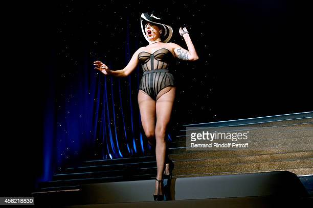 Actress Rossy de Palma performs at the last Jean Paul Gaultier Womenswear show as part of the Paris Fashion Week Womenswear Spring/Summer 2015 Held...