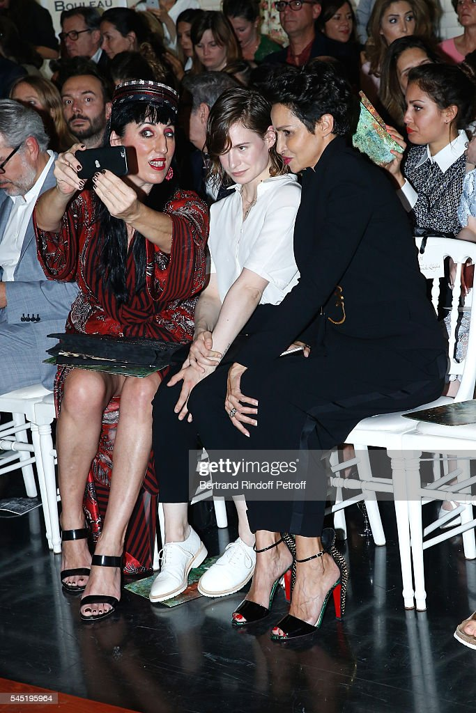 Actress Rossy de Palma singer of 'Christine and the Queens' Eloise Letissier and Farida Khelfa Seydoux attends the Jean Paul Gaultier Haute Couture...