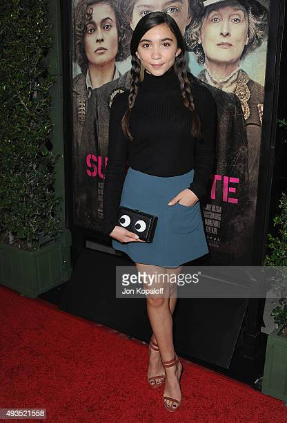 Actress Rowan Blanchard arrives at the Los Angeles Premiere Of Focus Features' 'Suffragette' at Samuel Goldwyn Theater on October 20 2015 in Beverly...