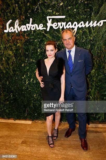 Actress Roxane Mesquida and Leonardo Ferragamo attend the Re Opening of Salvatore Ferragamo Boutique at Avenue Montaigne on July 5 2016 in Paris...