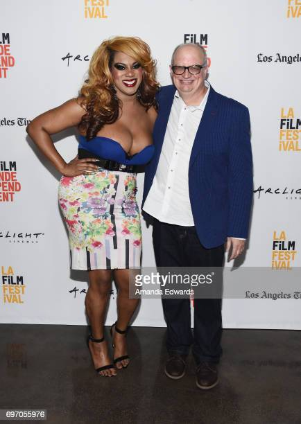 Actress Roxy Wood and director Timothy McNeil attend the 2017 Los Angeles Film Festival 'Anything' premiere at the ArcLight Santa Monica on June 17...