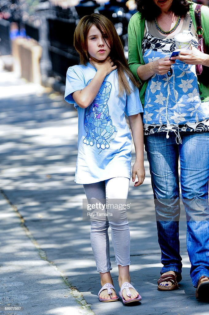 Actress Ruby Jerins walks to the 'Remember Me' film set in the Cobble Hill neighborhood of the Brooklyn borough on July 10, 2009 in New York City.