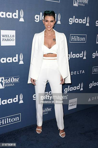 Actress Ruby Rose attends the 27th Annual GLAAD Media Awards at the Beverly Hilton Hotel on April 2 2016 in Beverly Hills California