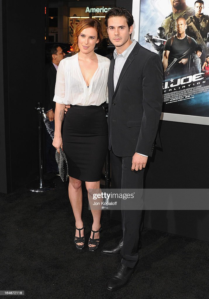 Actress Rumer Willis and actor Jayson Blair arrive at the Los Angeles Premiere 'G.I. Joe: Retaliation' at TCL Chinese Theatre on March 28, 2013 in Hollywood, California.