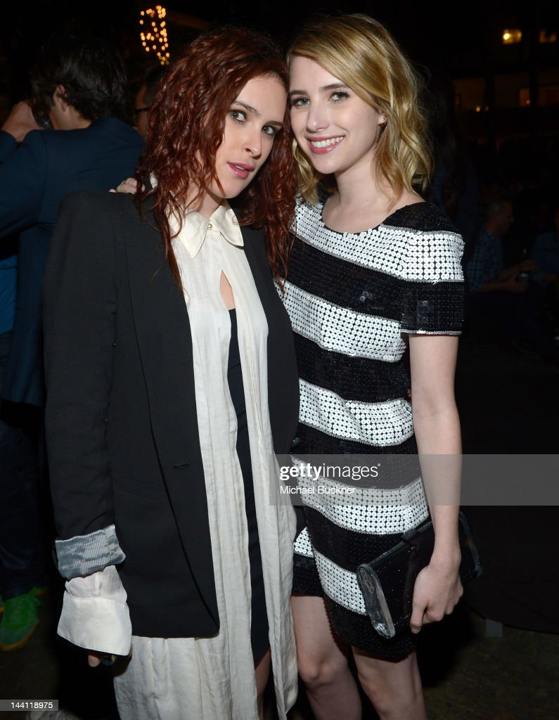 Actress Rumer Willis (L) and actress Emma Roberts attend the NYLON Magazine and Tommy Girl Annual May Young Hollywood Issue Party at Hollywood Roosevelt Hotel on May 9, 2012 in Hollywood, California.