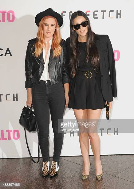 Actress Rumer Willis and mom actress Demi Moore arrive at the Los Angeles Premiere 'Palo Alto' at the DGA Theatre on May 5 2014 in Los Angeles...