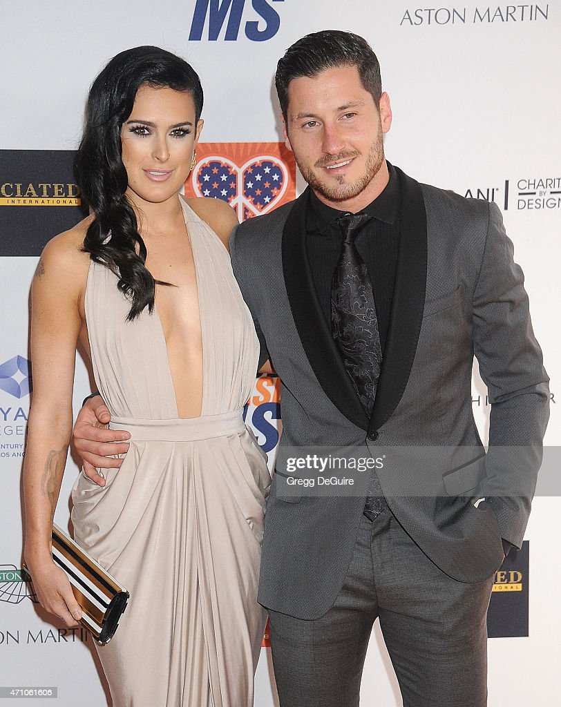 Actress Rumer Willis and Valentin Chmerkovskiy arrive at the 22nd Annual Race To Erase MS at the Hyatt Regency Century Plaza on April 24, 2015 in Century City, California.