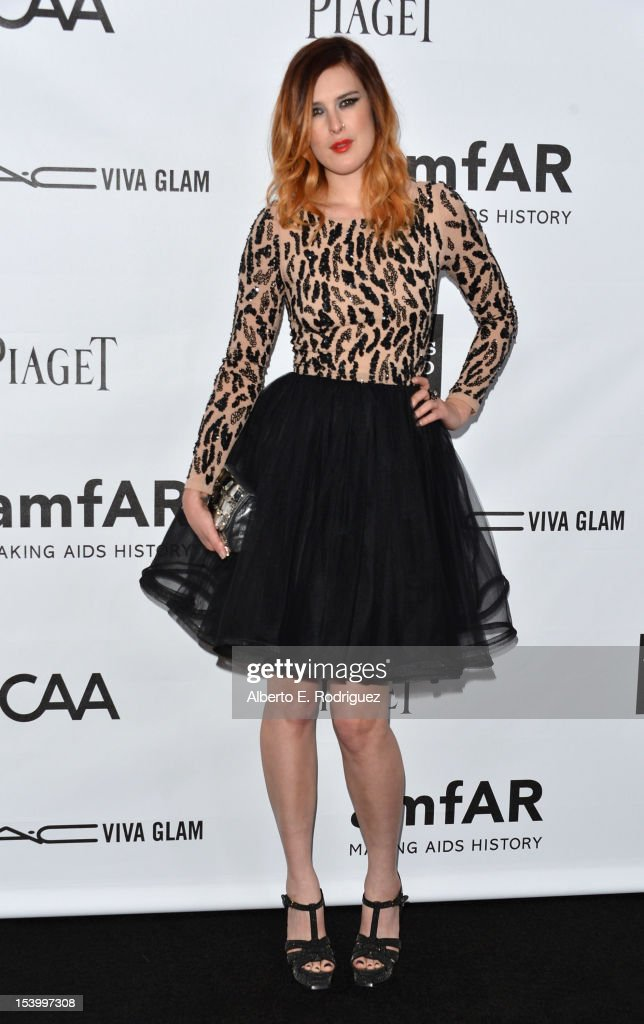 Actress Rumer Willis arrives at amfAR's Inspiration Gala at Milk Studios on October 11, 2012 in Hollywood, California.