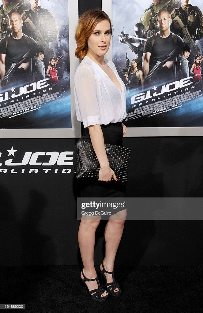 Actress Rumer Willis arrives at the 'G.I. Joe: Retaliation' Los Angeles premiere at TCL Chinese Theatre on March 28, 2013 in Hollywood, California.