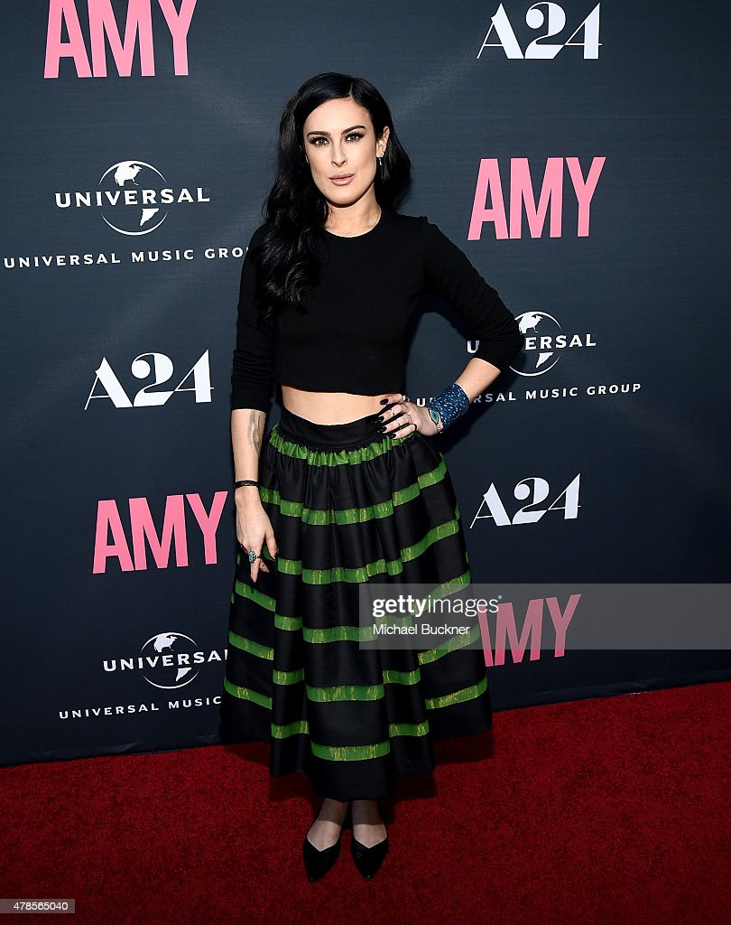 Actress <a gi-track='captionPersonalityLinkClicked' href=/galleries/search?phrase=Rumer+Willis&family=editorial&specificpeople=617003 ng-click='$event.stopPropagation()'>Rumer Willis</a> arrives at the premiere of A24 Films 'Amy' at ArcLight Cinemas on June 25, 2015 in Hollywood, California.