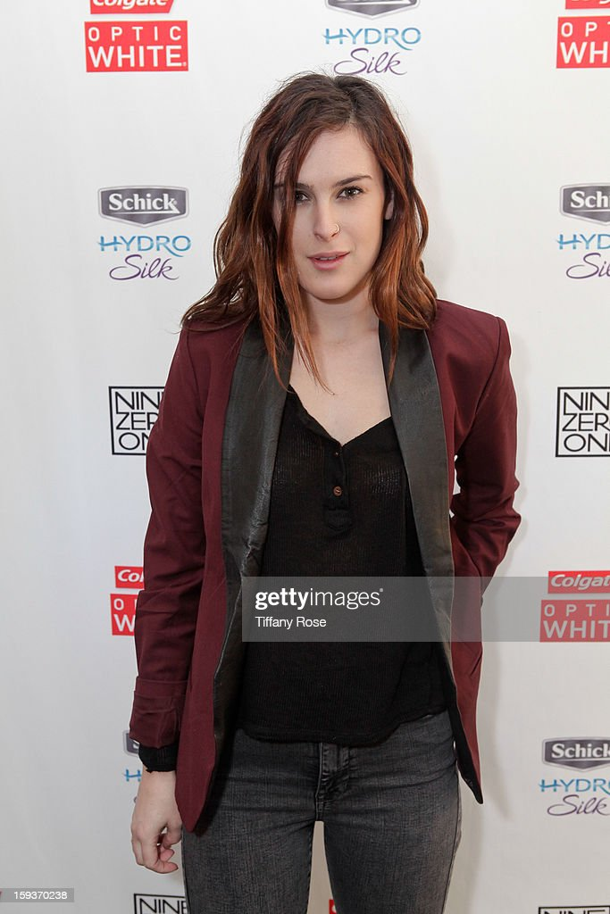 Actress Rumer Willis attends the Colgate Optic White beauty bar - Day 2 at Salon 901 on January 12, 2013 in West Hollywood, California.