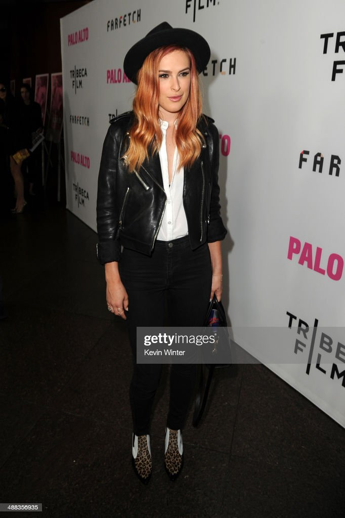 Actress <a gi-track='captionPersonalityLinkClicked' href=/galleries/search?phrase=Rumer+Willis&family=editorial&specificpeople=617003 ng-click='$event.stopPropagation()'>Rumer Willis</a> attends the premiere of Tribeca Film's 'Palo Alto' at the Directors Guild of America on May 5, 2014 in Los Angeles, California.
