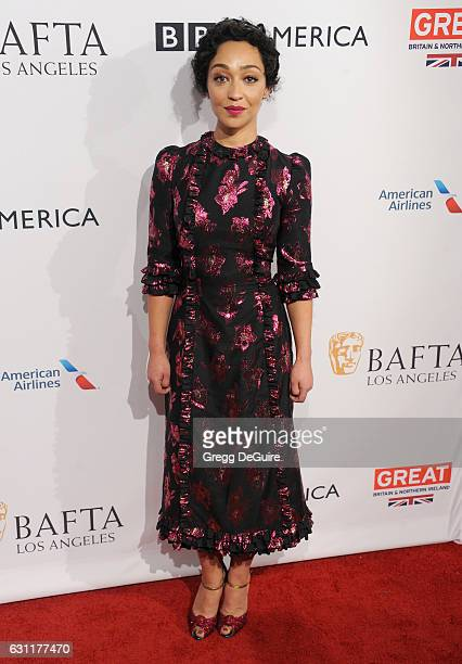 Actress Ruth Negga arrives at The BAFTA Tea Party at Four Seasons Hotel Los Angeles at Beverly Hills on January 7 2017 in Los Angeles California
