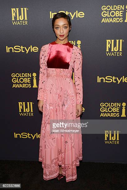 Actress Ruth Negga arrives at the Hollywood Foreign Press Association and InStyle celebrate the 2017 Golden Globe Award Season at Catch LA on...
