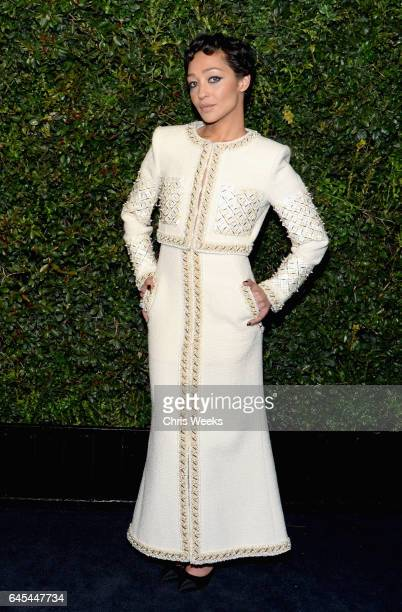 Actress Ruth Negga wearing CHANEL attends the Charles Finch and CHANEL PreOscar Awards Dinner at Madeo Restaurant on February 25 2017 in Beverly...