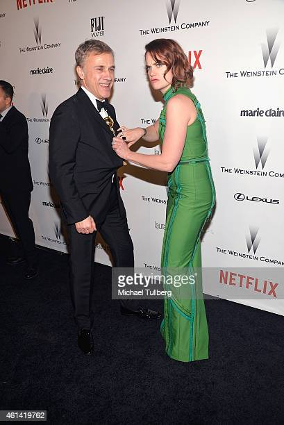 Actress Ruth Wilson celebrates her win with actor Christoph Waltz at the 2015 Weinstein Company and Netflix Golden Globes After Party on January 11...
