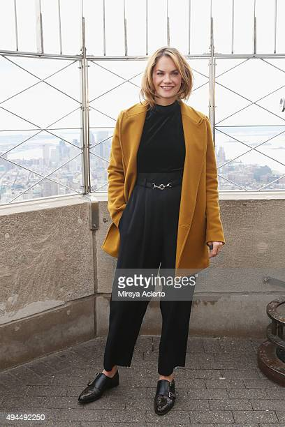 Actress Ruth Wilson lights the Empire State Building in honor of Make Believe On Broadway 2015 Gala at The Empire State Building on October 27 2015...
