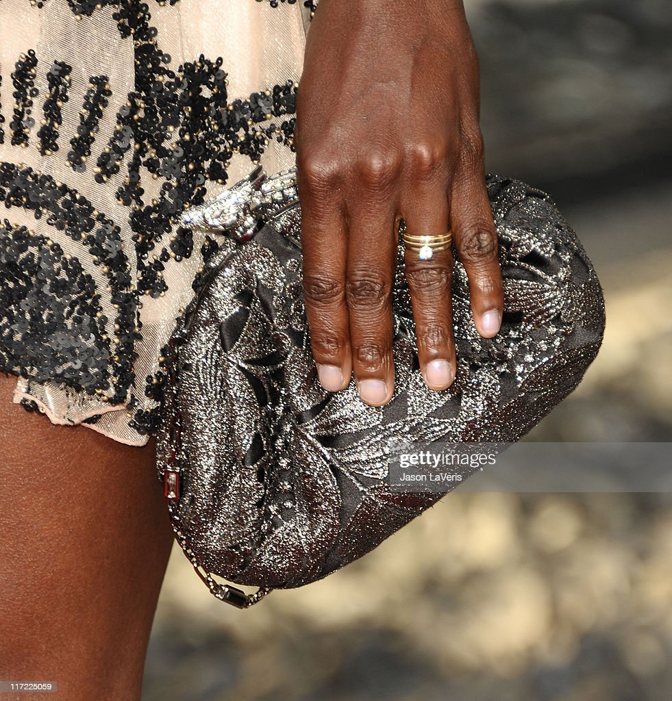 Actress Rutina Wesley (handbag detail) attends the premiere of HBO's 'True Blood' at ArcLight Cinemas Cinerama Dome on June 21, 2011 in Hollywood, California.