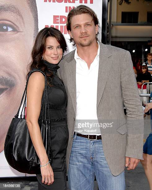 Actress Ryan Haddon and actor Marc Blucas arrive at the Los Angeles Premiere 'Meet Dave' at the Mann Village Theater on July 8 2008 in Westwood...