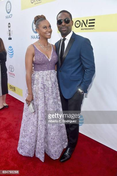 Actress Ryan Michelle Bathe and actor Sterling K Brown attend the 48th NAACP Image Awards at Pasadena Civic Auditorium on February 11 2017 in...