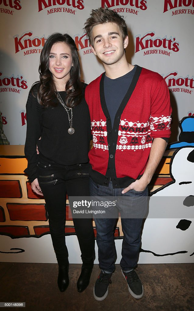 Actress Ryan Newman and actor Jack Griffo attend Knott's Berry Farm's Countdown To Christmas And Snoopy's Merriest Tree Lighting at Knott's Berry...