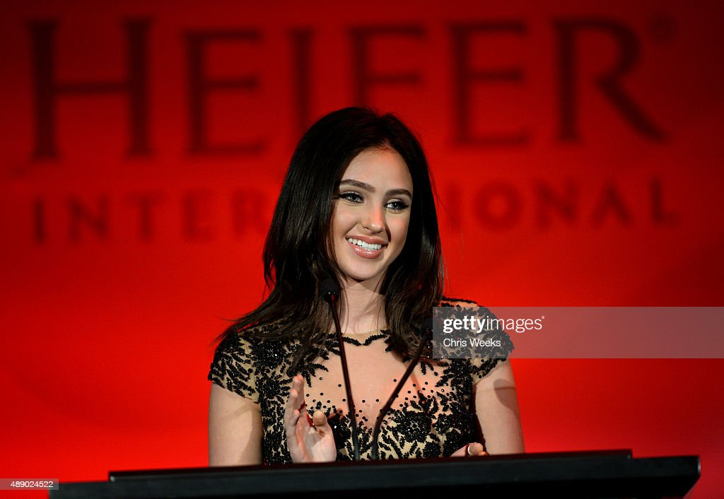 Actress Ryan Newman speaks onstage at Heifer International's 4th Annual Beyond Hunger Gala at the Montage on September 18 2015 in Beverly Hills...