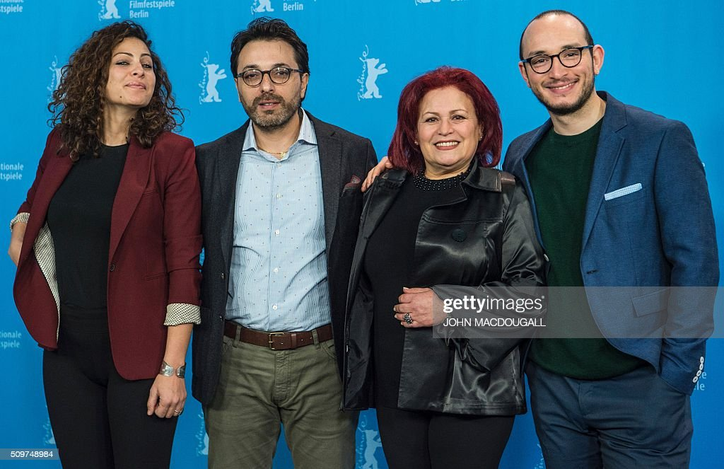 Actress Rym Ben Messaoud, Tunisian director Mohammed Ben Attia, Actress Sabah Bouzouita and Actor Majd Mastoura pose during a photocall for the Tunisian film ' Inhebbek Hedi ' (Hedi) during the Berlinal Film Festival in Berlin on February 12, 2016. / AFP / John MACDOUGALL