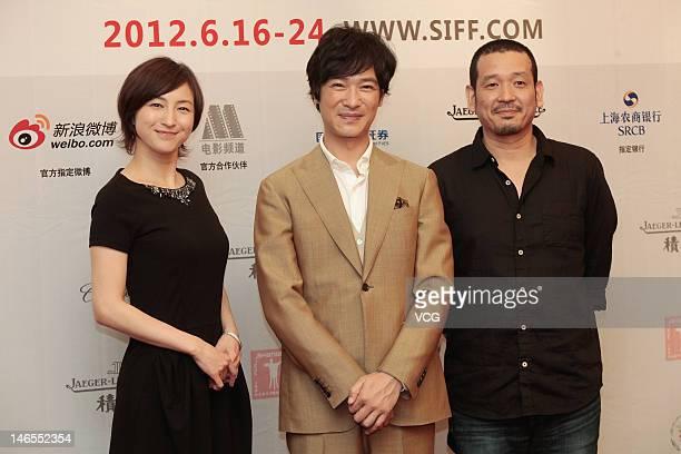 Actress Ryoko Hirosue actor Masato Sakai and director Kenji Uchida attend 'Key of Life' press conference during the 15th Shanghai International Film...