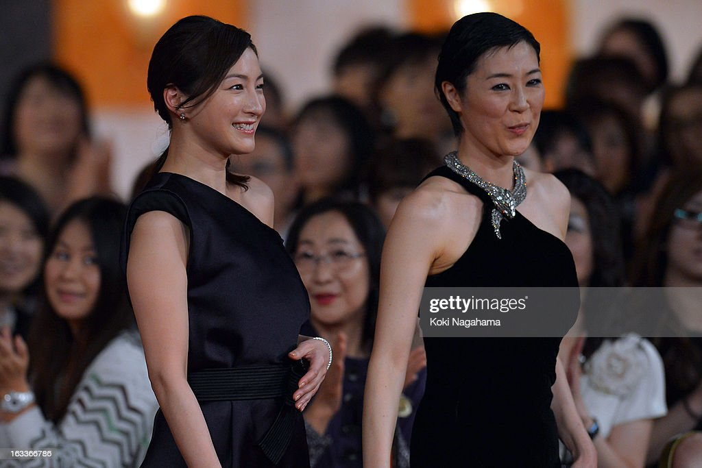 Actress Ryoko Hirosue and Shinobu Terajima attend the 36th Japan Academy Prize Award Ceremony at Grand Prince Hotel Shin Takanawa on March 8, 2013 in Tokyo, Japan.