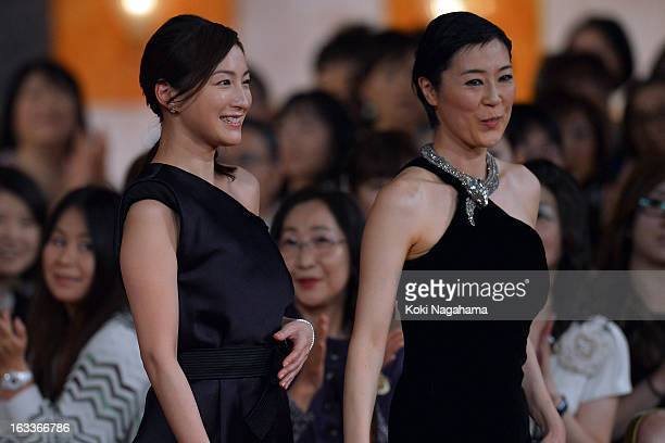 Actress Ryoko Hirosue and Shinobu Terajima attend the 36th Japan Academy Prize Award Ceremony at Grand Prince Hotel Shin Takanawa on March 8 2013 in...