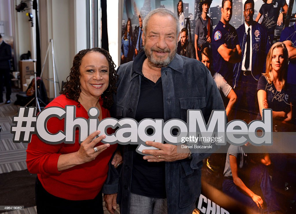 Actress S Epatha Merkerson and Executive Producer Dick Wolf pose with a #ChicagoFire hashtag at a press junket for NBC's 'Chicago Fire' 'Chicago PD'...