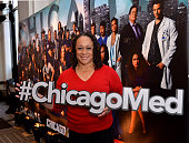 Actress S Epatha Merkerson holds a #ChicagoMed hashtag as she attends a press junket for NBC's 'Chicago Fire' 'Chicago PD' and 'Chicago Med' at...