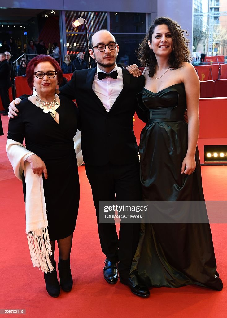 Actress Sabah Bouzouita, actor Majjd Mastoura, actress Rym Ben Messaoud attend a screening of the film 'Inhebbek Hedi (Hedi)' by Tunisian director Mohamed Ben Attia in competition at the 66th Berlinale Film Festival in Berlin on February 12, 2016. / AFP / TOBIAS SCHWARZ