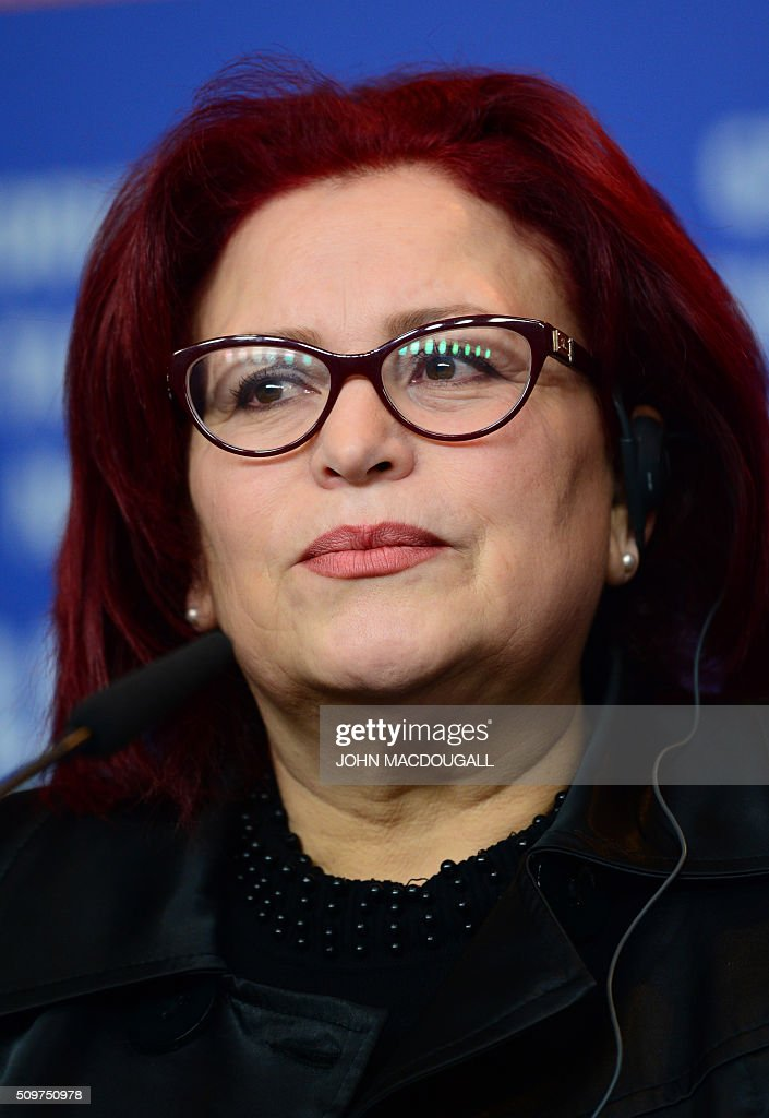 Actress Sabah Bouzouita attends a press conference of the film 'Inhebbek Hedi (Hedi)' by Tunisian director Mohamed Ben Attia in competition at the 66th Berlinale Film Festival in Berlin on February 12, 2016. / AFP / John MACDOUGALL