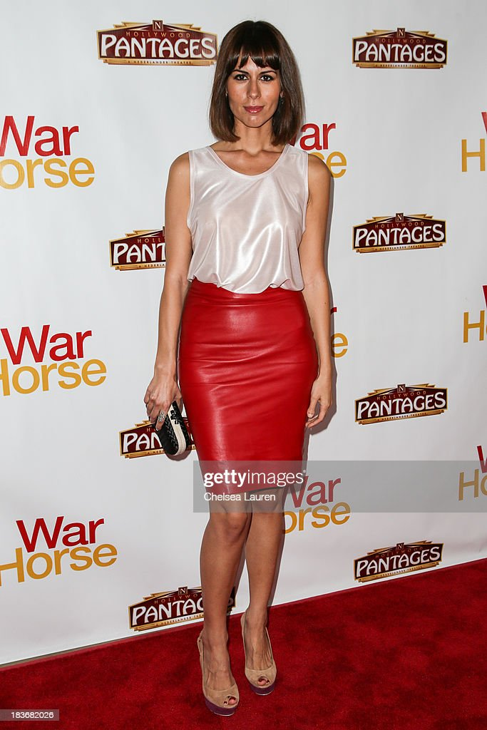Actress Sabina Akhmedova attends the 'War Horse' red carpet opening night at the Pantages Theatre on October 8, 2013 in Hollywood, California.