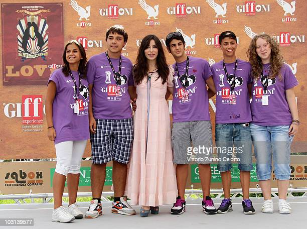 Actress Sabrina Impacciatore and the children of the jury attend a photocall during Giffoni Experience 2010 on July 28 2010 in Giffoni Valle Piana...