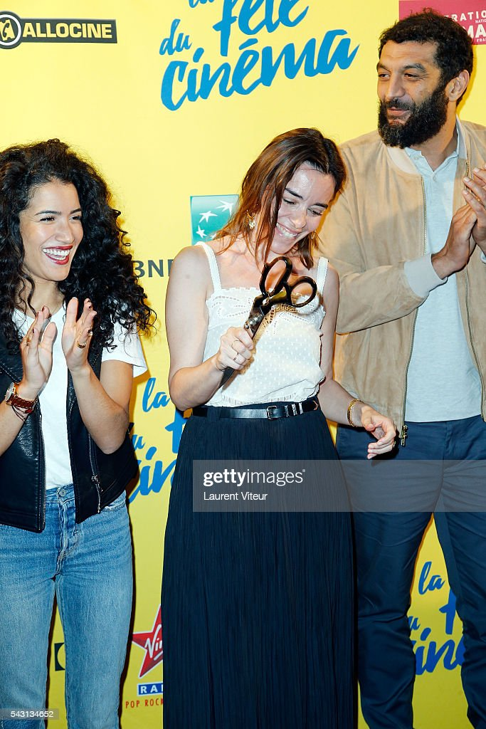 Actress Sabrina Ouazani, Elodie Bouchez and Actor Ramzy Bedia attend the 32nd 'Fete du Cinema' launch at UGC Cine Cite Bercy on June 26, 2016 in Paris, France.