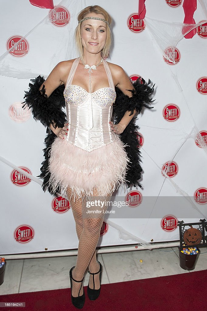 Actress Sadie Katz attends the former Pussycat Doll Kaya Jone's 'Halloween Doll' celebratory event at Sweet! Hollywood Boutique on October 17, 2013 in Hollywood, California.
