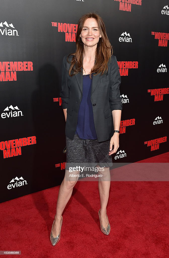 Actress Saffron Burrows arrives to the World Premiere of Relativity Media's 'The November Man' at the TCL Chinese Theatre on August 13 2014 in...